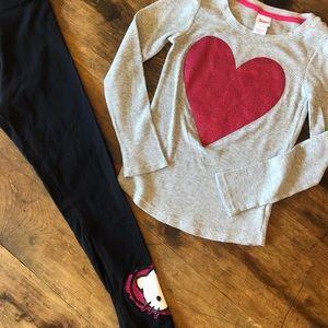 💖SPARKLE HEART TEE & HELLO KITTY LEGGINGS